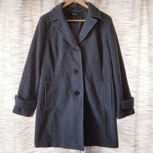 Style & Co PETITE Wool Coat Gray Large